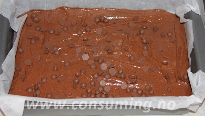 Melkesjokoladebrownies klar til steking
