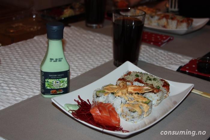 Blue Dragon Wasabi Sauce med Sushi